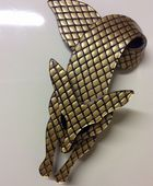 Lea Stein Fox Pin  (Sold)  Golden Caramel with  Sparkle Black  Fish Net  Lace